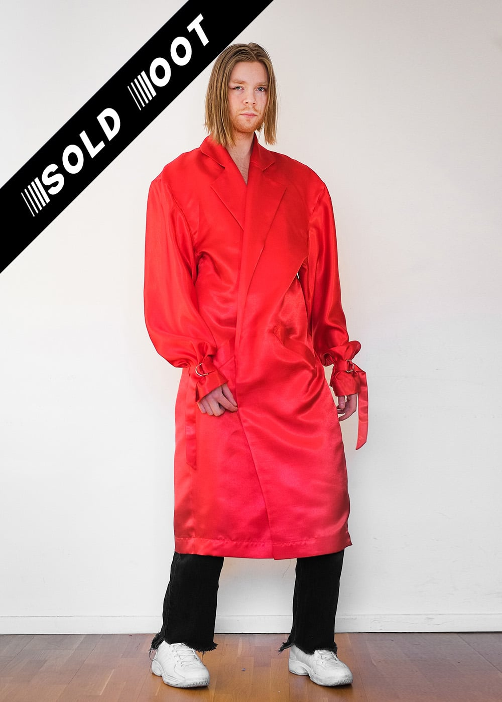 100% Upcycled Satin Red Trenchcoat 10