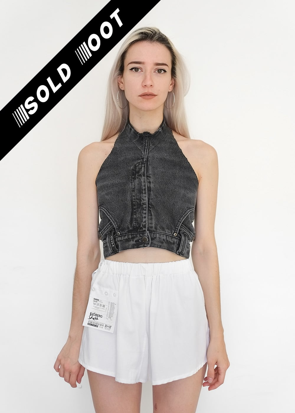100% Upcycled Denim Chain Top 370