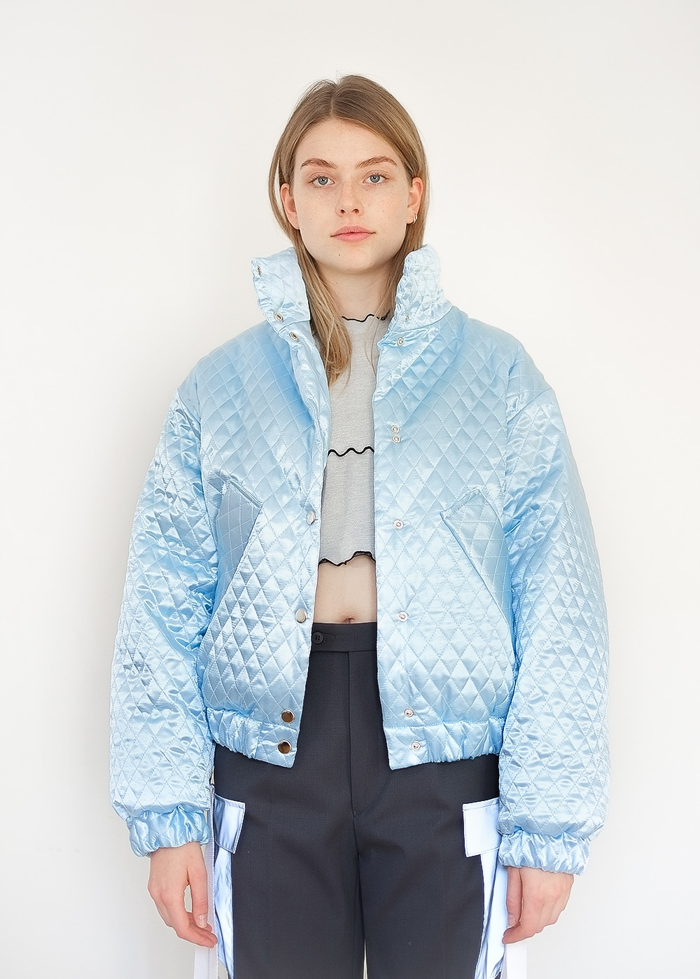 Satin Quilted Bomber Jacket 335
