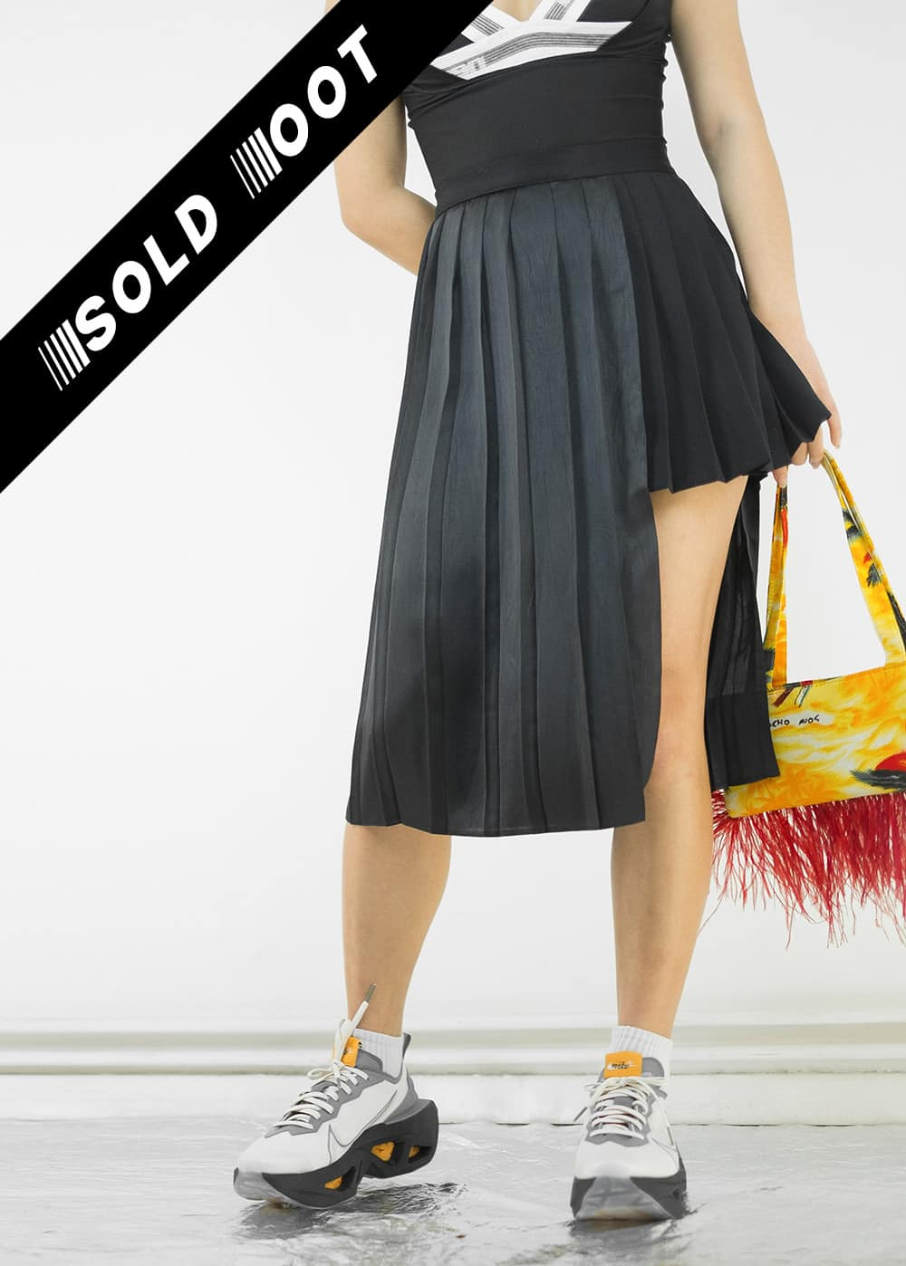 Pleated Satin Slit Skirt 145