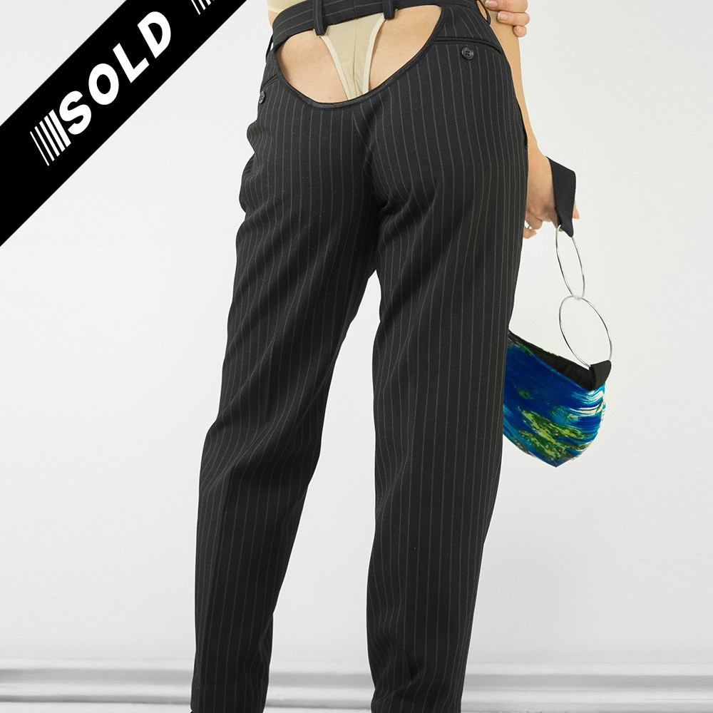 Black Pinstripe Butt Pants 7