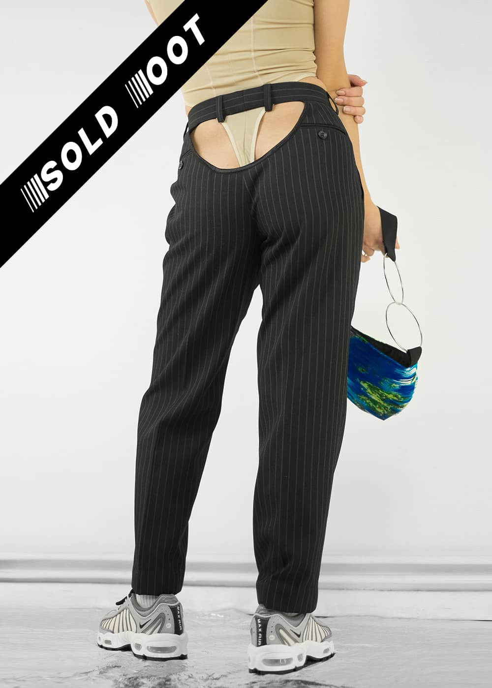 Black Pinstripe Butt Pants 132