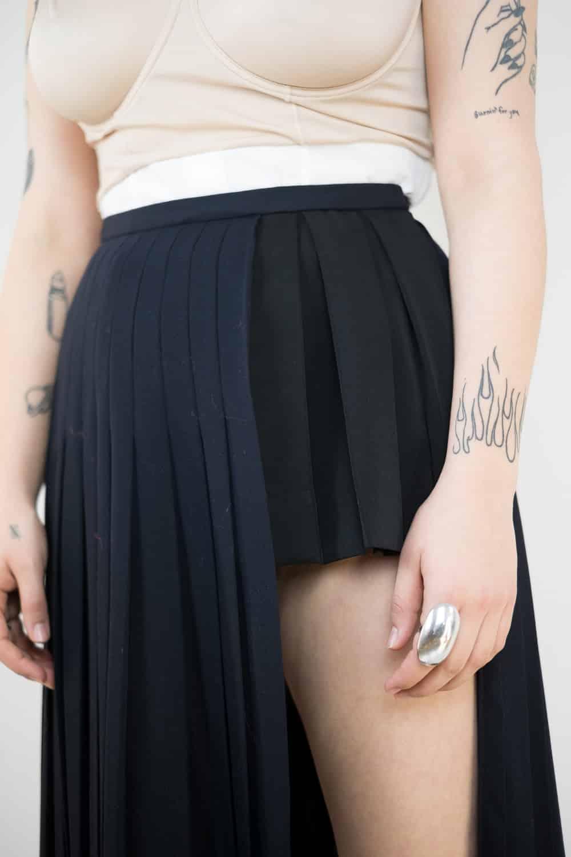 Pleated Wool Slit Skirt 2