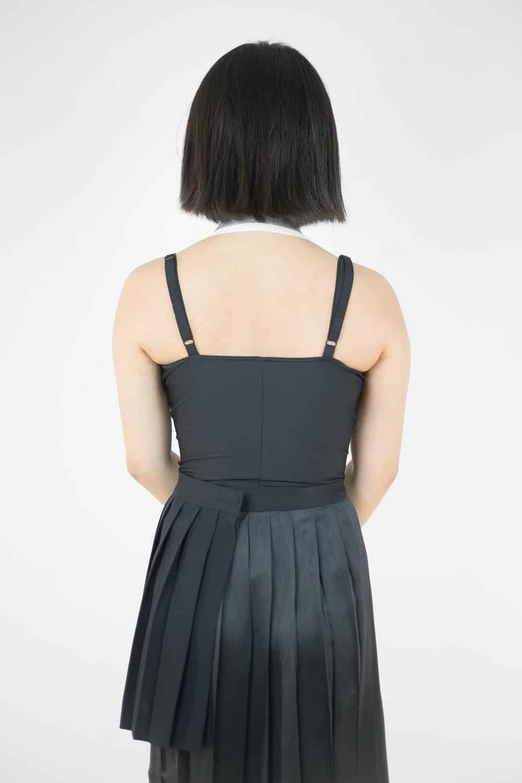 Pleated Satin Slit Skirt 4