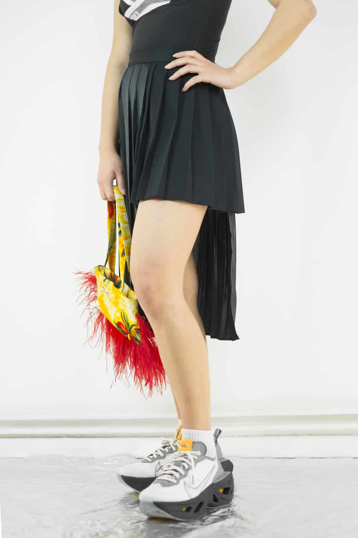 Pleated Satin Slit Skirt 2