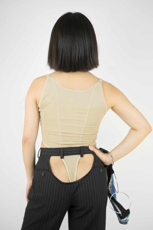 Black Pinstripe Butt Pants 3