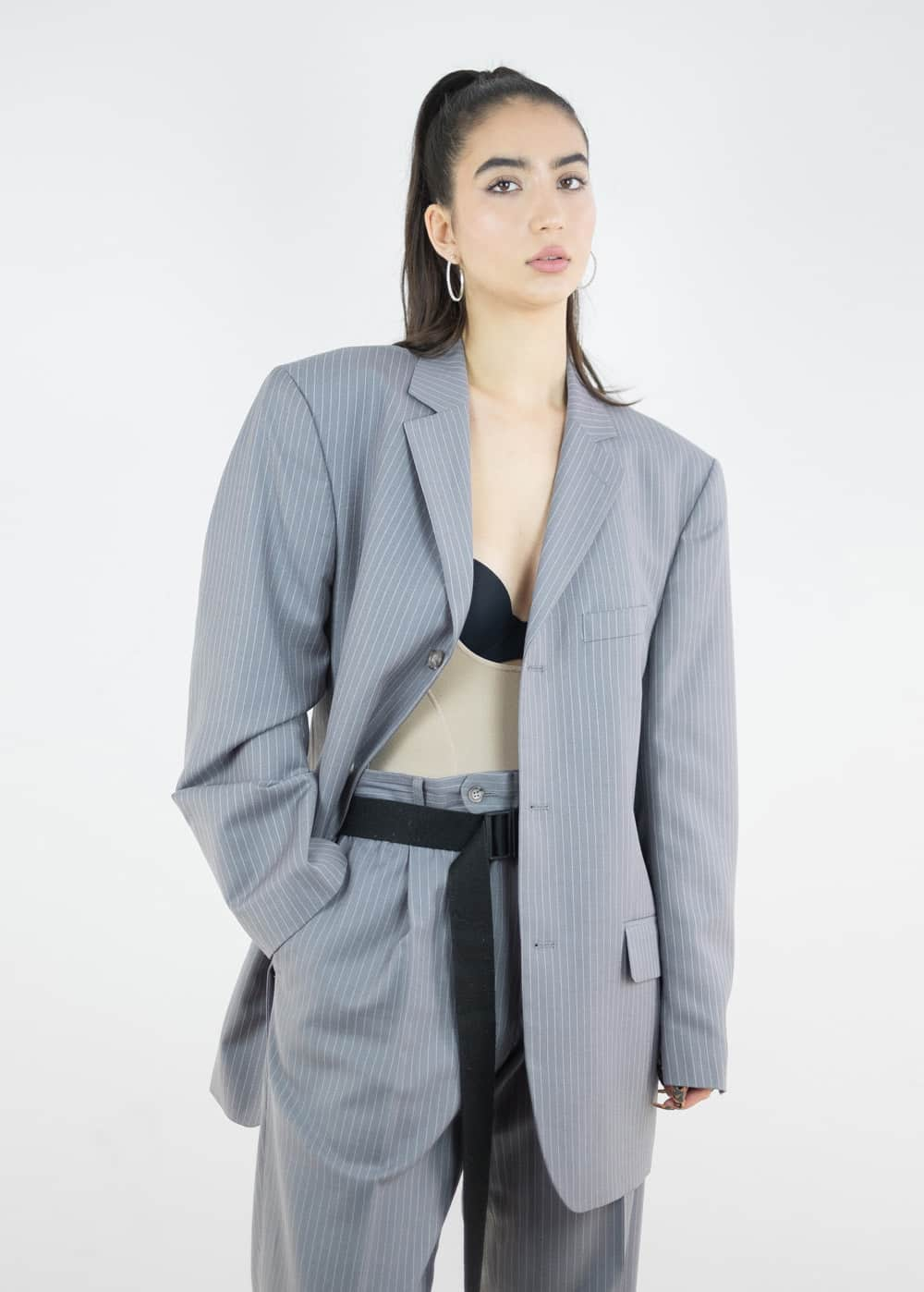 Pinstripe Suit Jacket 7