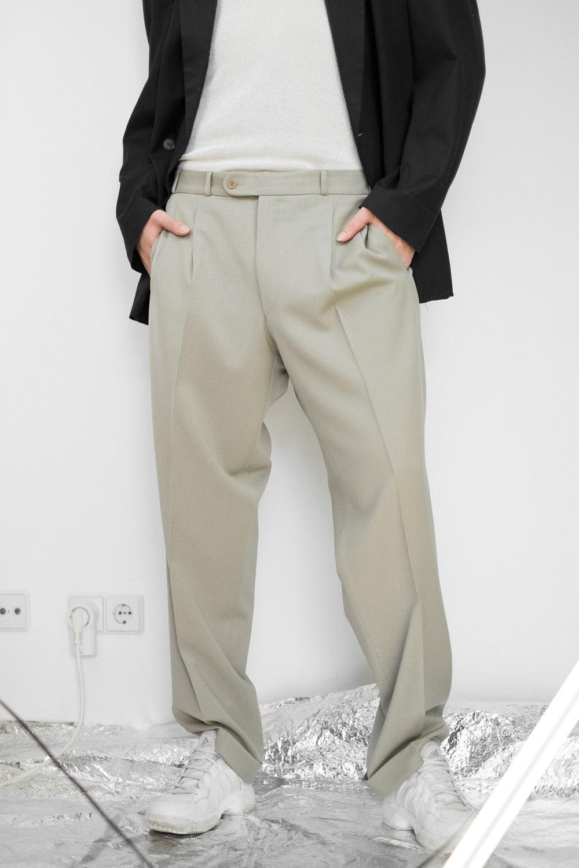 Beige Pleated Suit Pants 2