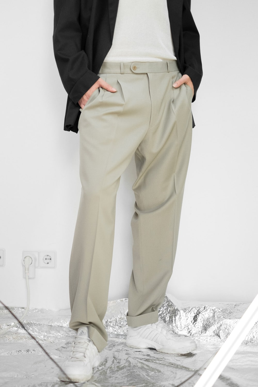 Beige Pleated Suit Pants 3