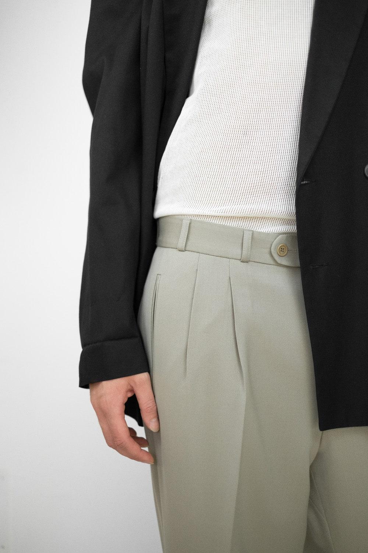 Beige Pleated Suit Pants 4