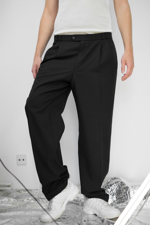 Black Pleated Suit Pants 3